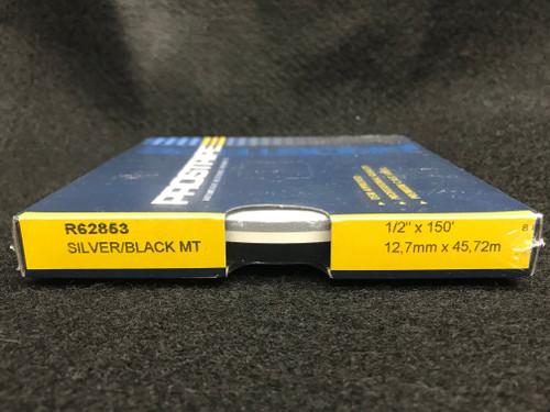 "R62853 Silver/Black Metallic 1/2"" Dual Color Multi-stripe 1/2"" x 150' (R62853)"
