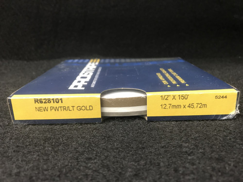 """R628101 New Pewter/Gold 1/2"""" Dual Color Multi-stripe 1/2"""" x 150'"""