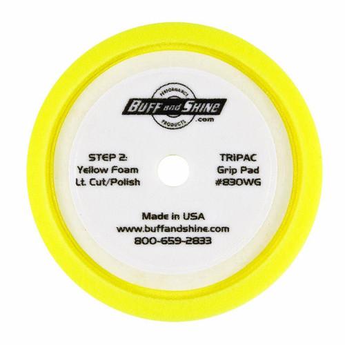 """8"""" Medium Cut ,Yellow Convoluted Face Foam Grip Pad, Recessed Back (830WG)"""