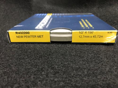 "R432200 New Pewter Metallic Double Stripe Thick & Thin 1/2"" x 150' (R432200)"