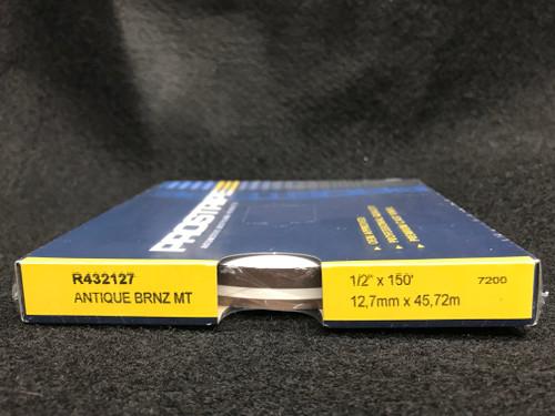 "R432127 Antique Bronze Metallic Double Stripe Thick & Thin 1/2"" x 150' (R432127)"