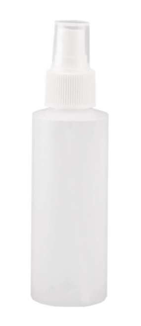 Natural HDPE bottle. Includes finger tip mist pump with clear cap.