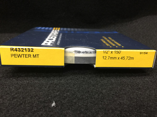 """R432132 Pewter Metallic Double Stripe Thick & Thin 1/2"""" x 150' (R432132)"""