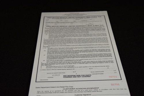 NYS Limited Warranty with Acknowlegement