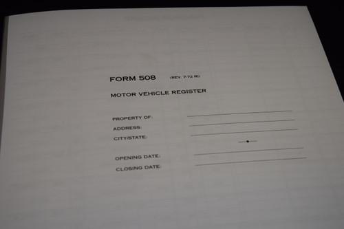 Motor Vehicle Register (Police Book)