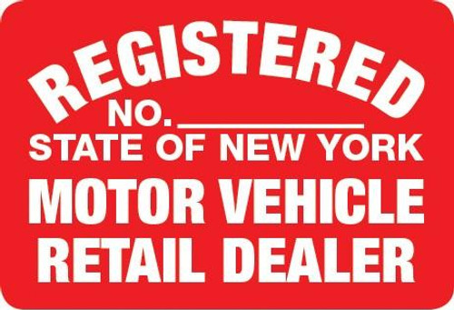 Metal Signs REGISTERED: State of New York, Motor Vehicle Retail Dealer