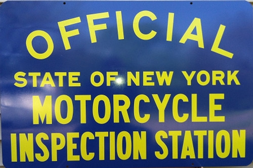 Metal Sign Blue: Motorcycle Inspection