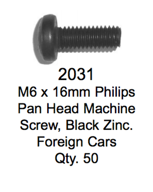 License Plate Fasteners 2031 Pan Head Machine Screw