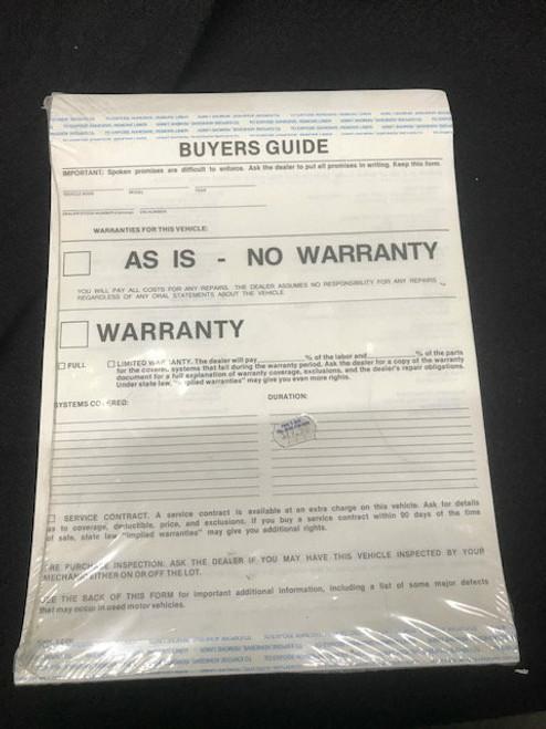 Window Sticker - 2 Part Buyer's Guides 100 per package