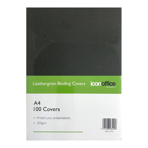 Icon Binding Covers A4 Black 250gsm Pack 100