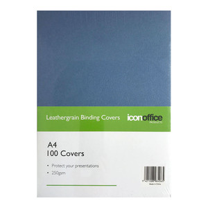 Icon Binding Covers A4 Navy 250gsm Pack 100