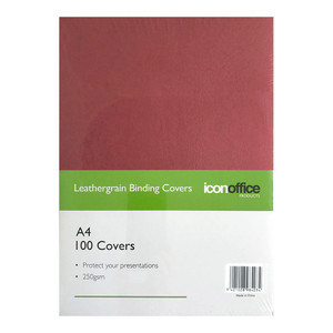 Icon Binding Covers A4 Red 250gsm Pack 100