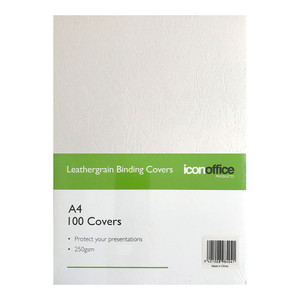 Icon Binding Covers A4 White 250gsm Pack 100