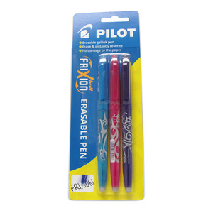 Pilot Frixion Ball Erasable Fine Violet Light Blue Pink 3Pk