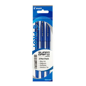 Pilot Super Grip G Stick Ballpoint Medium Blue 3Pk