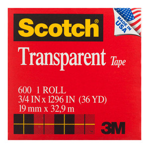 Scotch Transparent Tape 600 19mm x 3 boxed refill roll