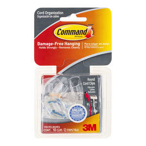 Command Clips Round Cord 17017CLR-VP Clear Value Pk/10