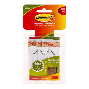 Command Picture Hanger 17043 Large White Wire-Backed Pk/3