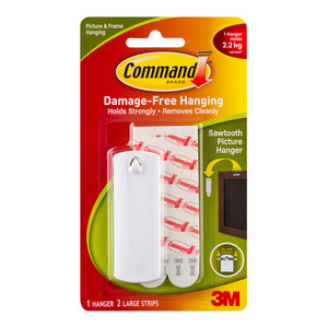 Command Picture Hanger 17040 Large White Sawtooth Pk/1