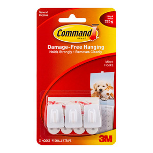 Command Hook 17066 Micro White Pk/3