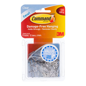 Command Hook 17067CLR-VP Small Clear Wire Utensil Value Pk/9