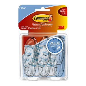 Command Hook 17091CLR-VP-6 Medium Clear Value Pk/6