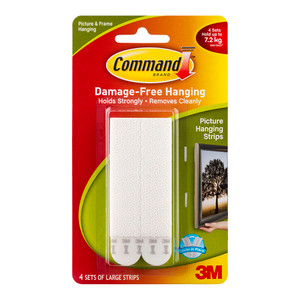 Command Picture Hanging Strips 17206 Large White Pack of 4