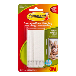 Command Picture Hanging Strips 17207 Narrow White Pack of 4