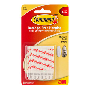 Command Refill Strips 17021P Medium White Pk/9