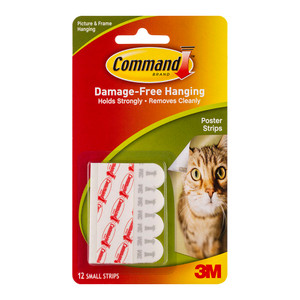 Command Poster Strips 17024 Small White Pk/12