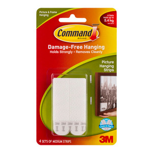 Command Picture Hanging Strips 17201 Medium White Pack of 4 Sets