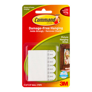 Command Picture Hanging Strips 17202 Small White Pack of 4
