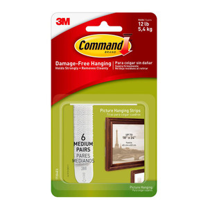Command Picture Hanging Strips 17204ES Medium White Pack of 8