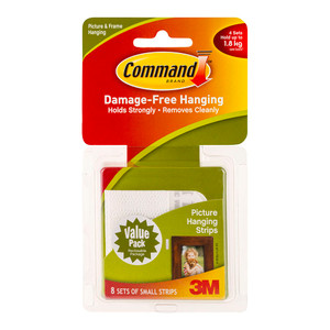 Command Picture Hanging Strips 17205-VP Small White Pack of 8