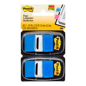 Post-it Flags 680-BE2 Twin Pack Blue 25x43mm 50/Dispenser, 2 Dispensers/Pk