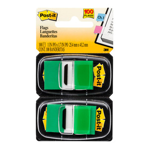 Post-it Flags 680-GN2 Twin Pack Green 25x43mm Pkt/60