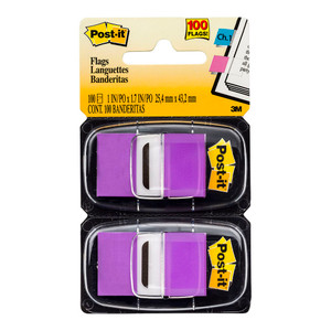 Post-it Flags 680-PU2 Twin Pack Purple 25x43mm 50/Dispenser, 2 Dispensers/Pk