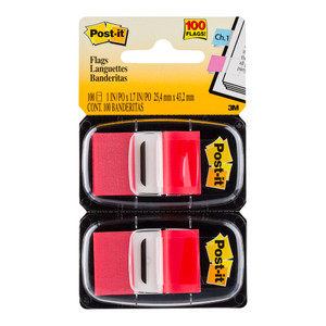 Post-it Flags 680-RD2 Twin Pack Red 25x43mm 50/Dispenser, 2 Dispensers/Pk