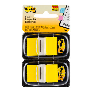 Post-it Flags 680-YW2 Twin Pack 25x43mm Yellow 50/Dispenser, 2 Dispensers/Pk