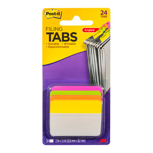 Post-it Durable Filing Tab  686A-PLOY Pink Lime Orange Yellow Angled 50mm Pkt/24