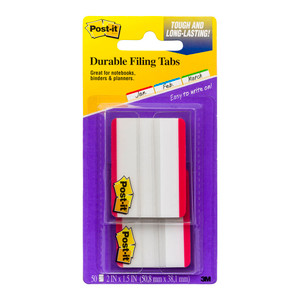 Post-it Durable Filing Tab 686F-50RD Red 25/pad pkt/2pads