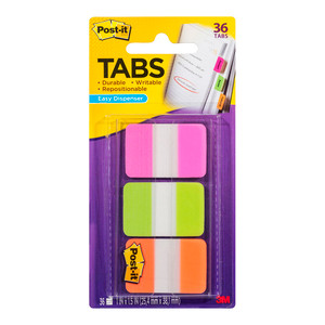 Post-it Durable Tabs 686-PGOT Pink Green Orange 25x38mm Pkt/36