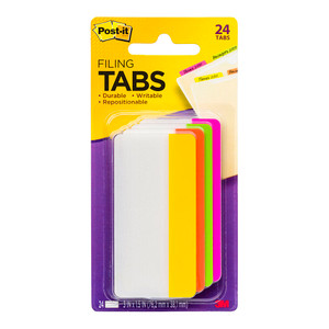 Post-it Durable Filing Tab 686-PLOY-3 Pink Lime Orange Yellow Straight 75mm Pkt/24