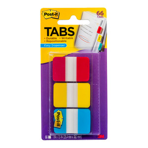 Post-it Durable Tabs 686-RYB Blue Red Yellow 25x38mm Pkt/66