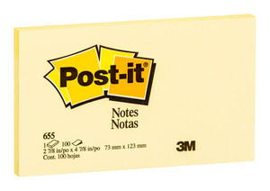 Post-it Notes Yellow 655-Y 76x127mm 100 sheet pads