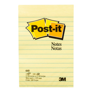 Post-it Notes Yellow 660 Lined  101x152mm 100 sheet pad