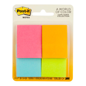 Post-it Notes 653-4AF Mini Page Markers 36x48mm 50 sheet pads Pkt/4