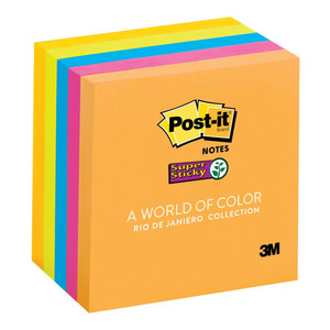 Post-it Super Sticky Notes 654-5SSUC Rio Collection 76x76mm 90 sheet pads Pkt/5