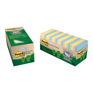 Post-it Notes 654R-24CP-AP Recycled Cabinet Pack Helsinki 76x76mm 75 sheet pads Pkt/24