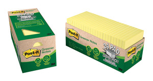 Post-it Recycled Note Cabinet Pack 654R-24CP-CY Yellow 76x76mm 75 sheet pads Pkt/24